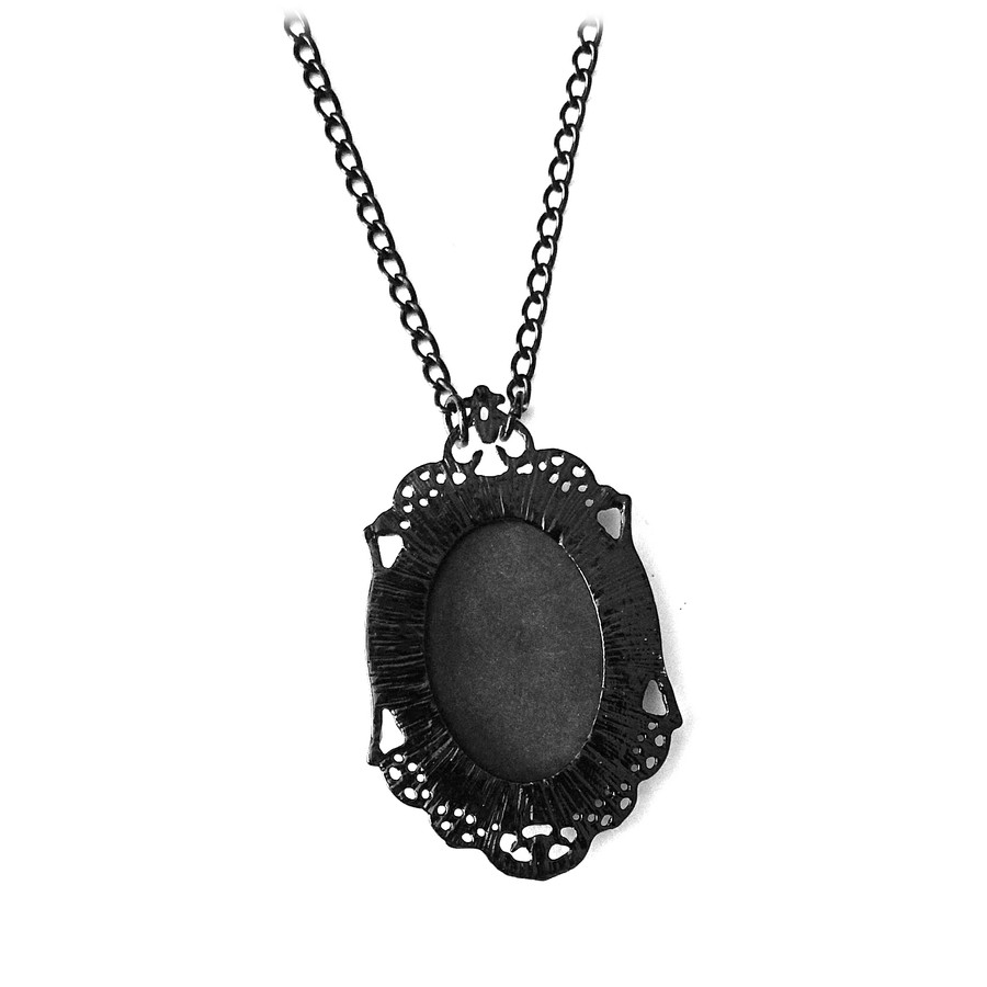 Gothic Black Cameo Necklace with Conjoined Twin Skeleton