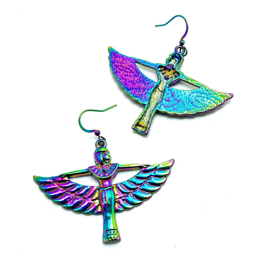 Rainbow-Effect Winged Isis Egyptian Drop Earrings