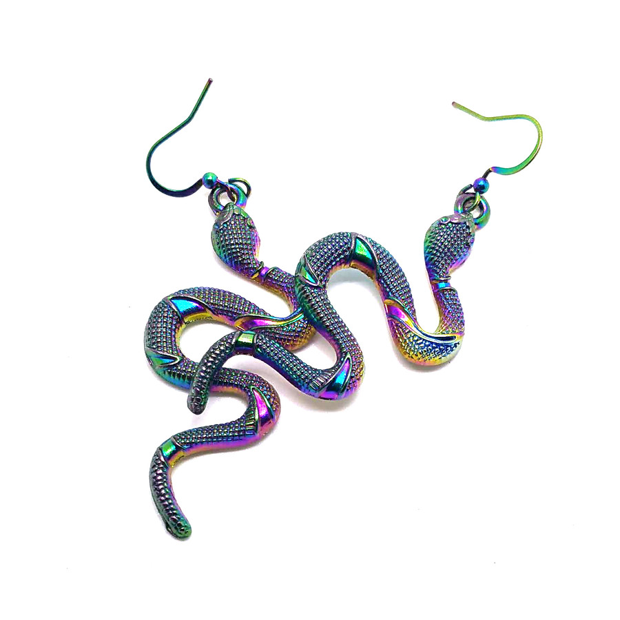 Rainbow-Effect Snake Drop Earrings