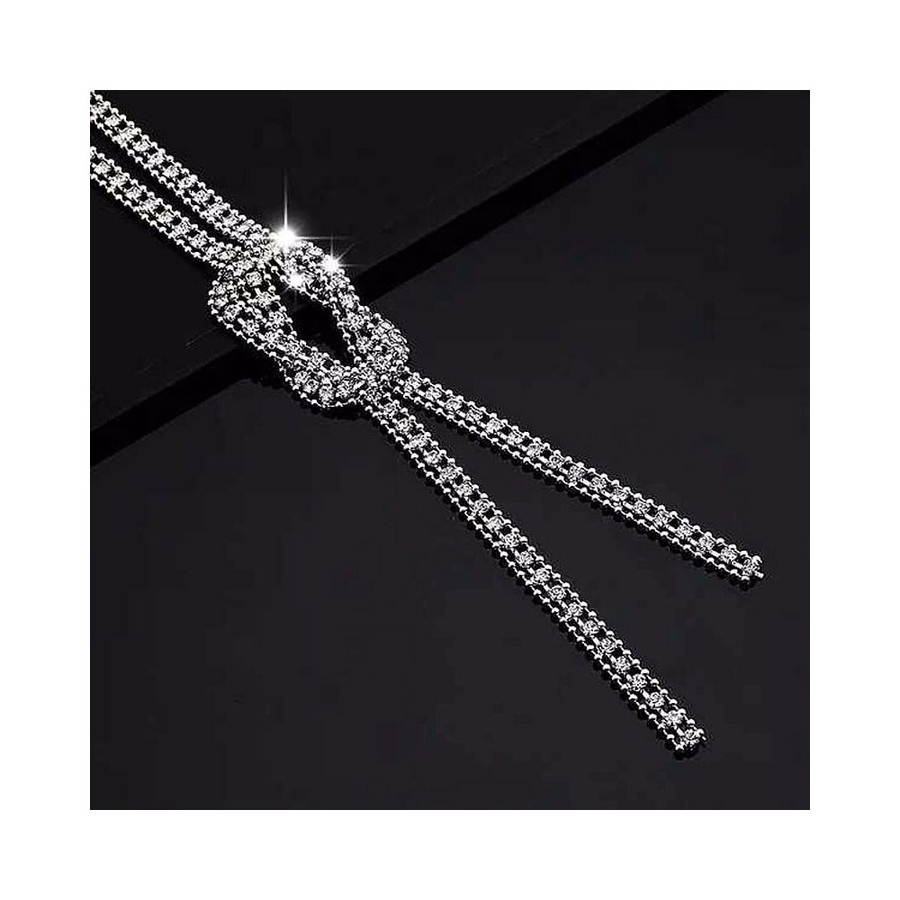 Bejeweled Silver Chain Knotted Y-Necklace