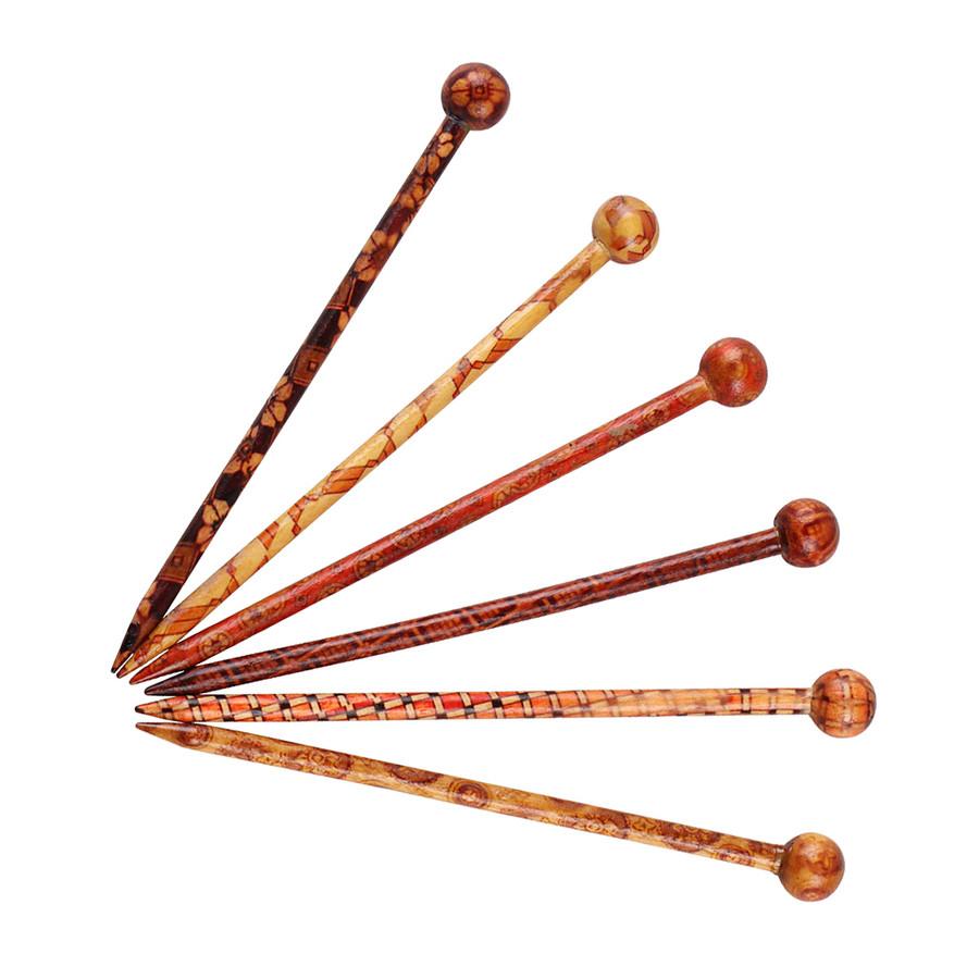 Patterned Hair Sticks (Set of 6)