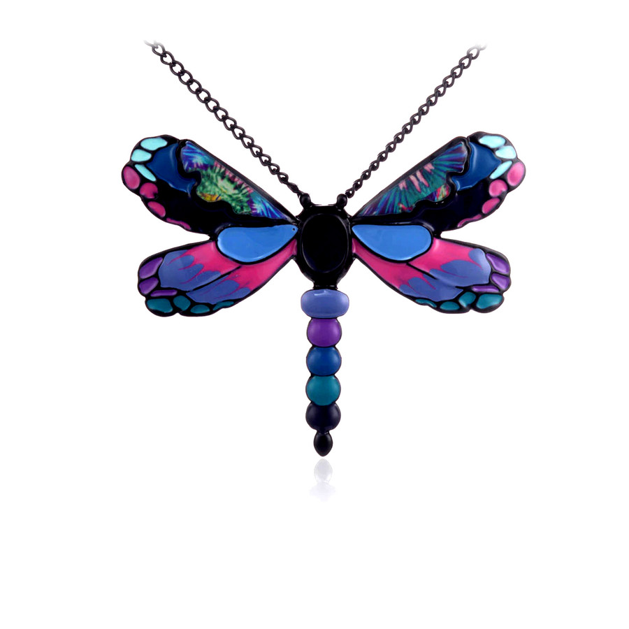Gorgeous Enameled Black Dragonfly Pendant Necklace/Pin