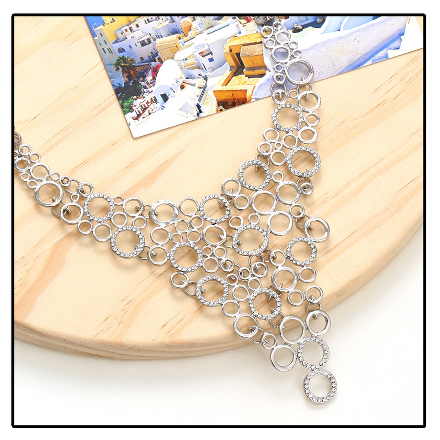 Bejeweled Silver Chain Mail Bib Necklace
