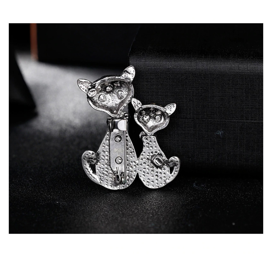 Bejeweled Antiqued Silver Kitty Duo Pin with Abalone Detail