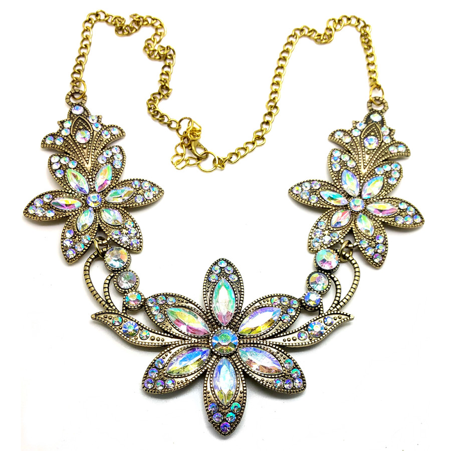 Antiqued Gold and Aurora Borealis Crystal Floral Necklace