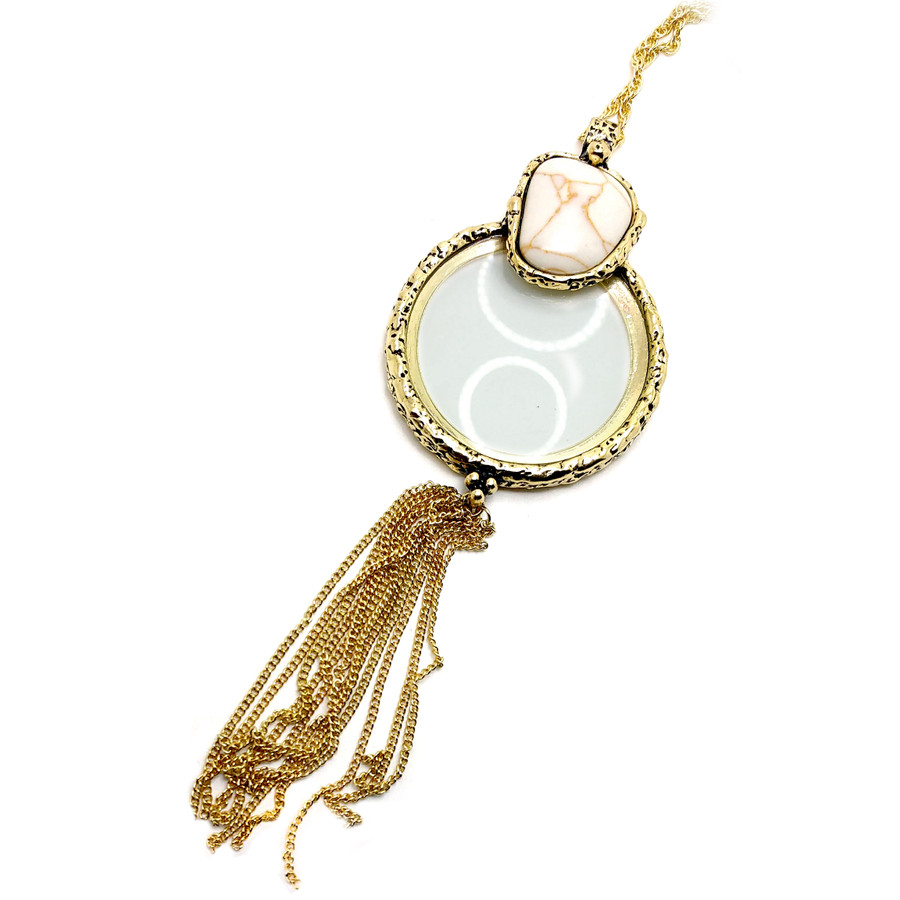 Golden Magnifying Glass Necklace with Tassel and White Stone