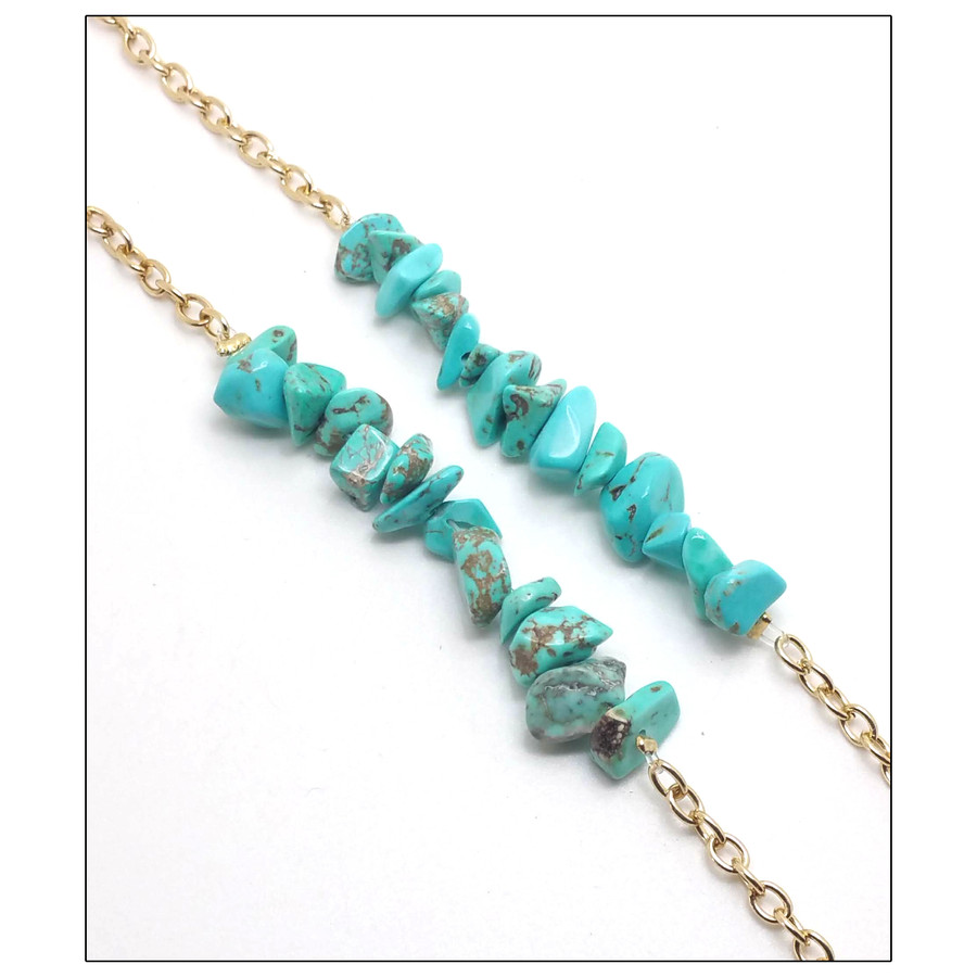 Grannycore Gold and Turquoise Stone Nugget Glasses Chain/Holder