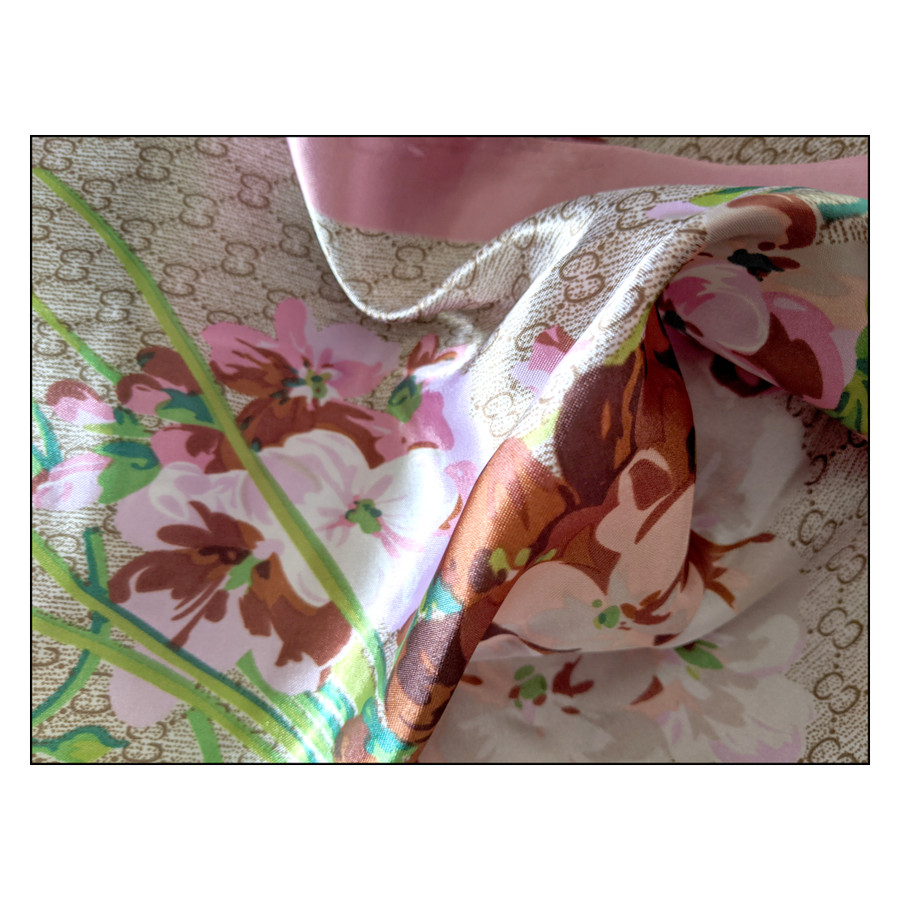 """Floral Square Silk-/Satin-Feel Scarf (Taupe & Rose, 36"""" x 36"""")"""