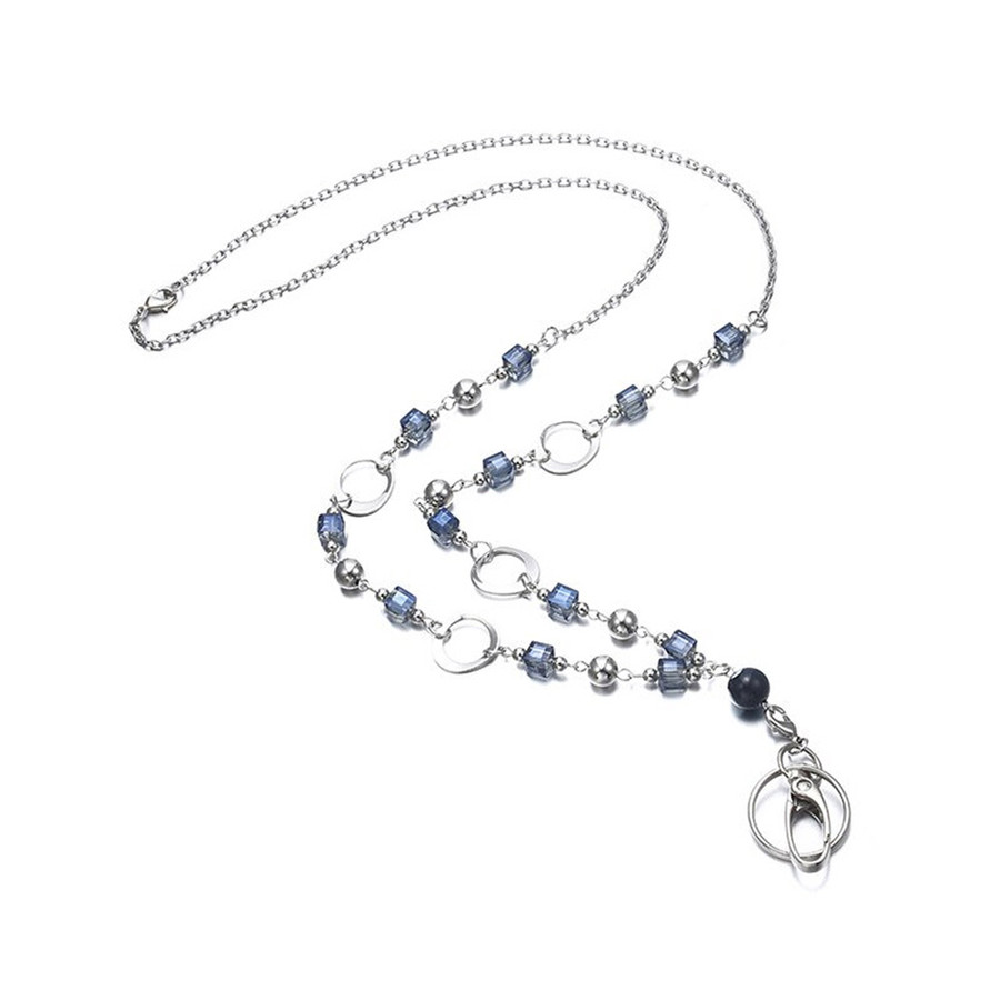 Grannycore Blue Beaded Chain with Removable Hook: Convertible Lanyard Necklace (Plus Two Clear Pouch/ID/Badge/Card Holders)
