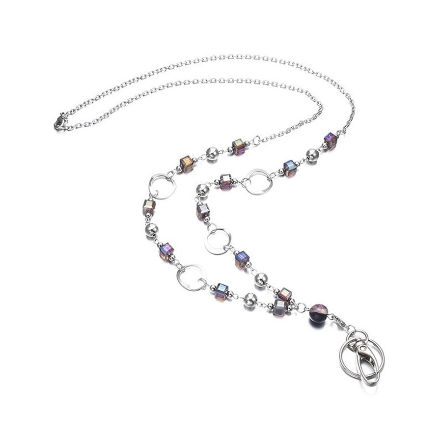 Grannycore Purple Beaded Chain with Removable Hook: Convertible Lanyard Necklace (Plus Two Clear Pouch/ID/Badge/Card Holders)