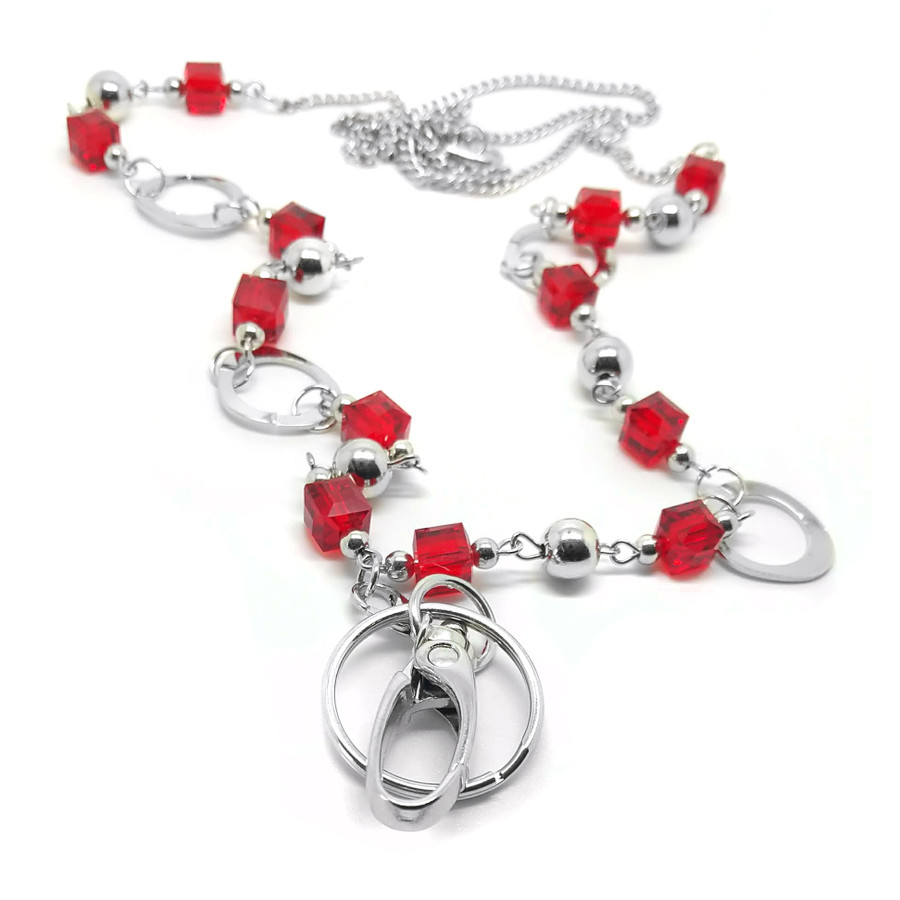 Grannycore Red Beaded Chain with Removable Hook: Convertible Lanyard Necklace (Plus Two Clear Pouch/ID/Badge/Card Holders)