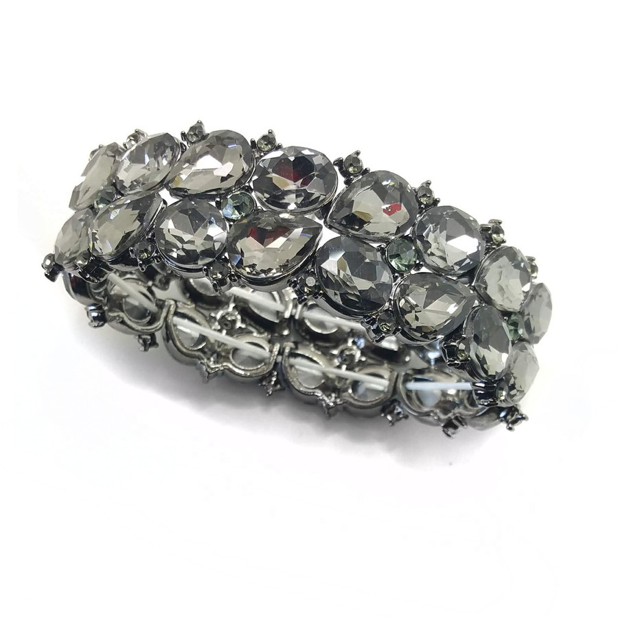 Stunning Gunmetal and Smoky Teardrop Crystal Bracelet