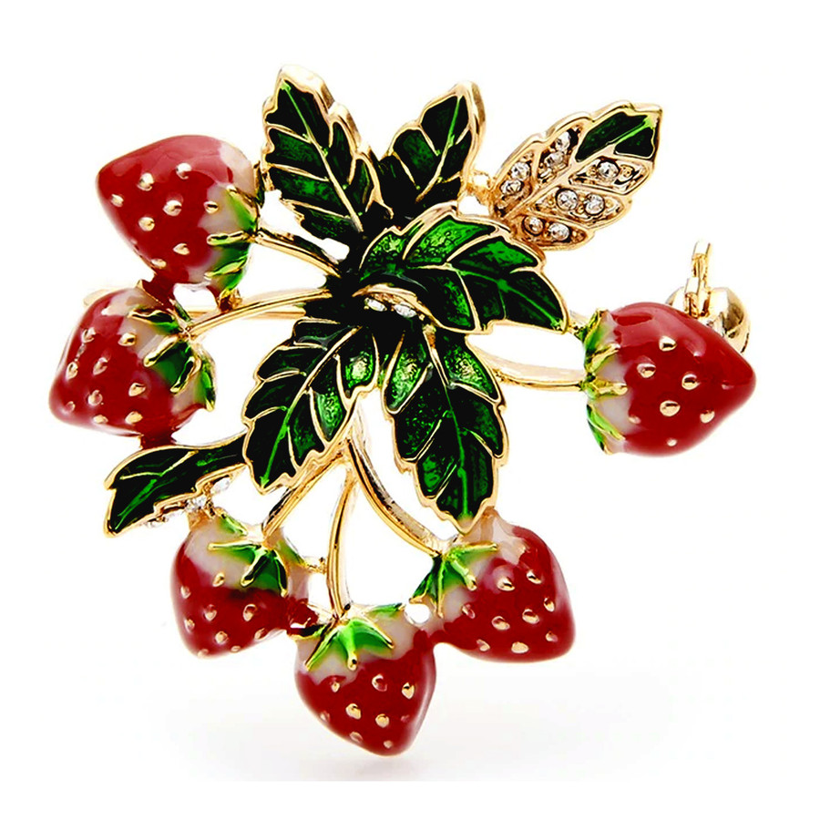 Bejeweled and Enameled Strawberry Bunch Pin