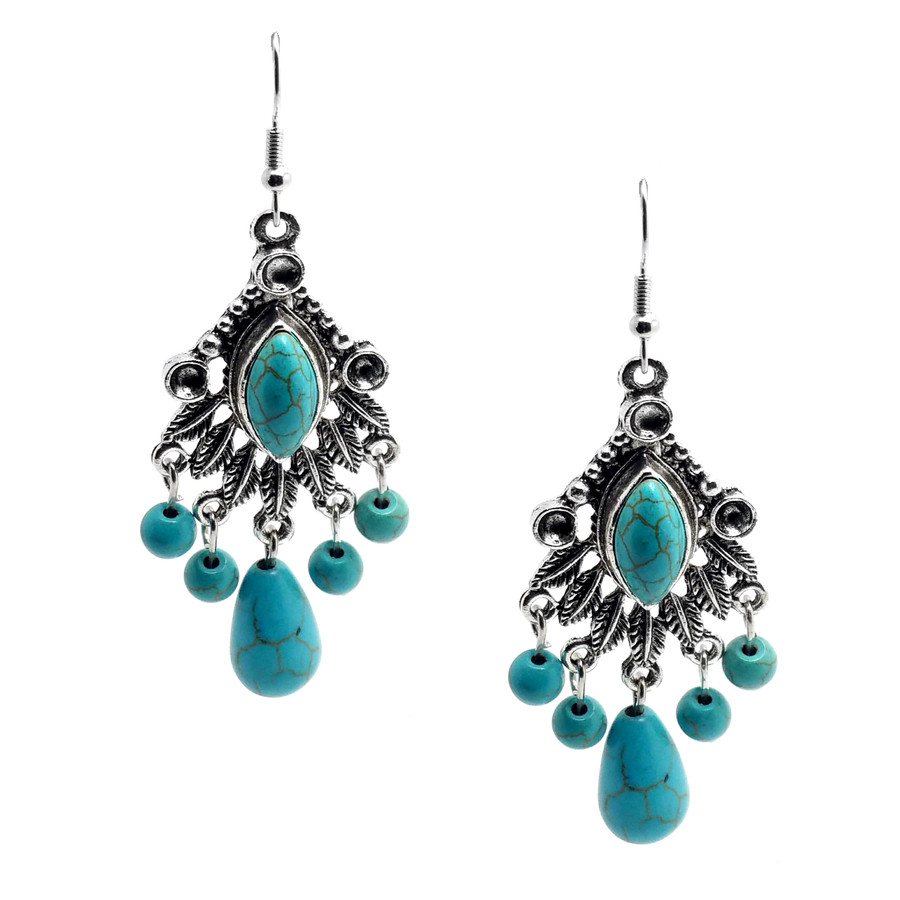 Antiqued Silver & Turquoise Bead Fringe Drop Earrings