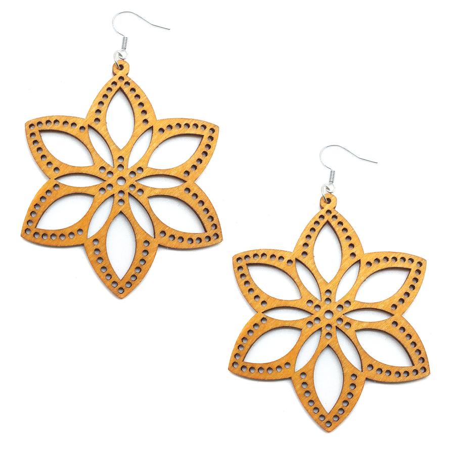 "2-1/2"" Large Lightweight Brown Wood Flower Cutout Drop Earrings"