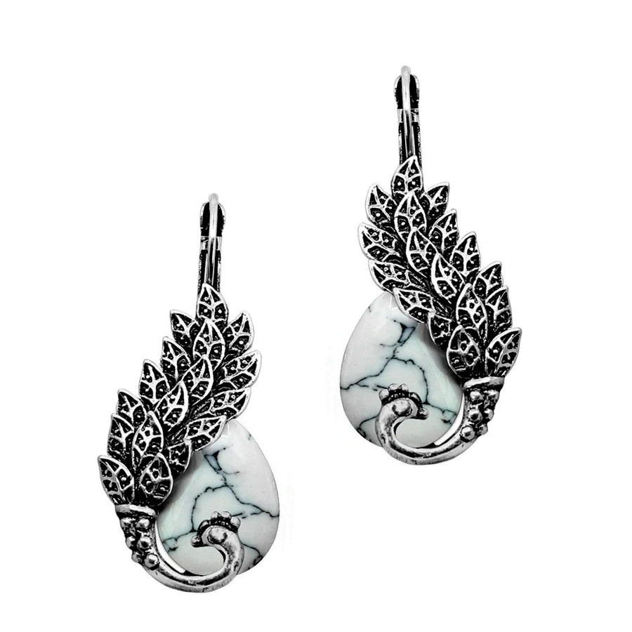 Antiqued Silver and Marbled White Peacock Teardrop Leverback Earrings