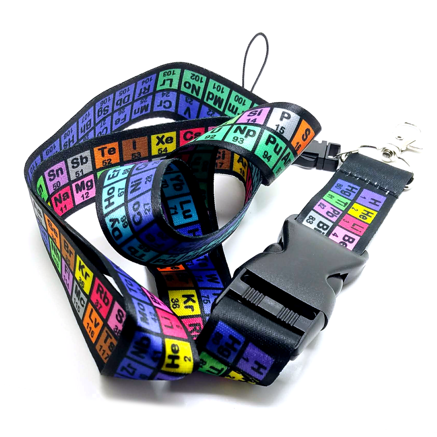 Black and Rainbow Periodic Table Fabric Lanyard with Quick Release (Plus Two Clear Pouch/ID/Badge/Card Holders