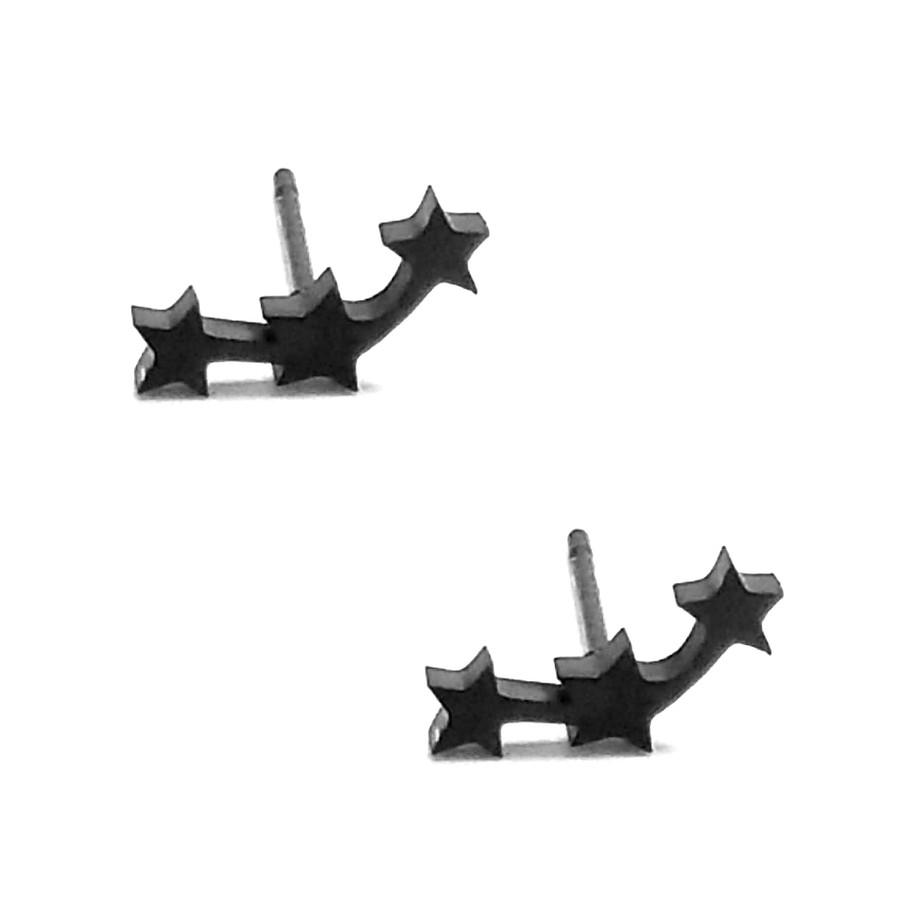 Mini Black Triple Star Post Earrings