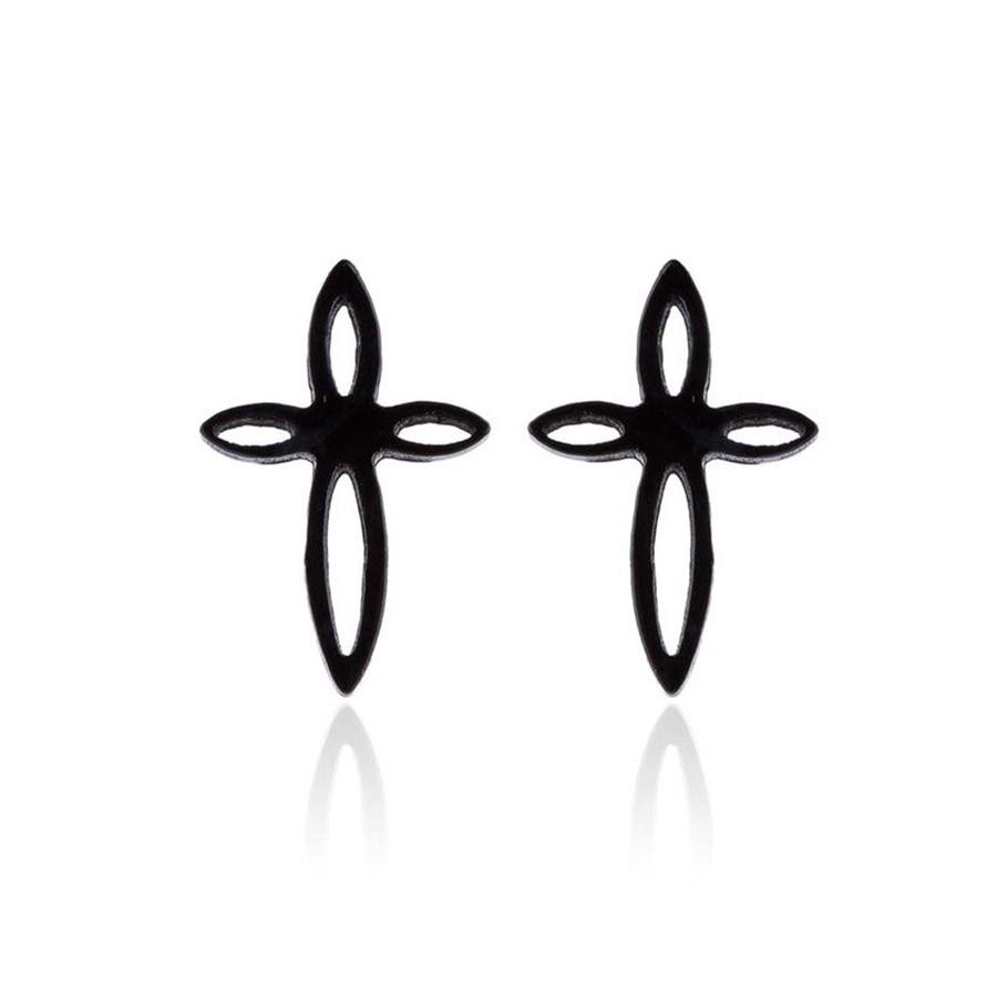 Mini Black Cross Post Earrings