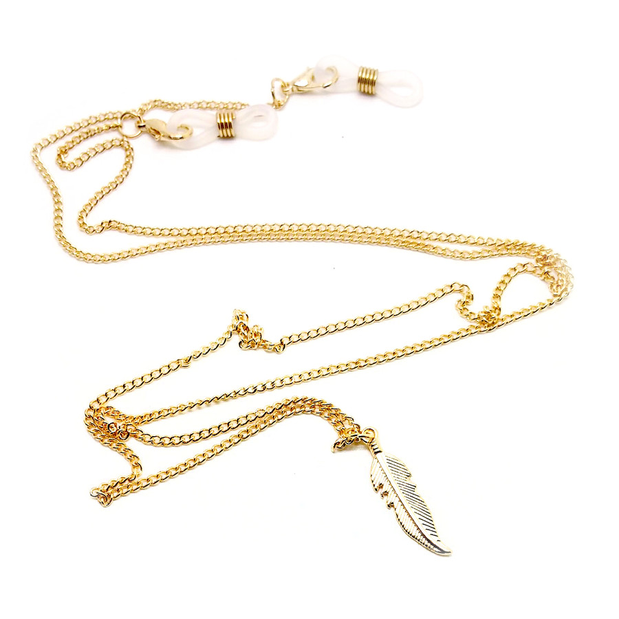 Sleek Golden Boho Glasses Chain/Holder with Feather Charm Back