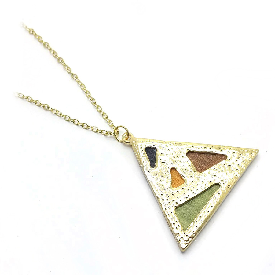 Stained Wood Geometric Triangle Golden Pendant Necklace