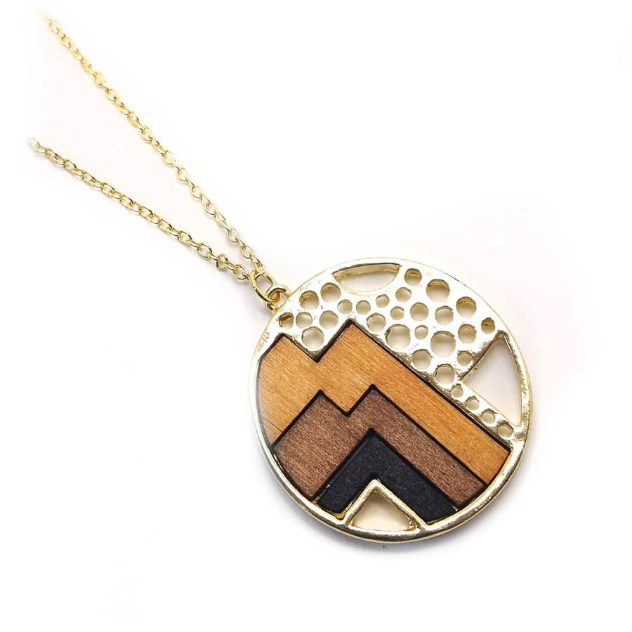 Golden Retro Circle Pendant Necklace with Stained Wood Inlay