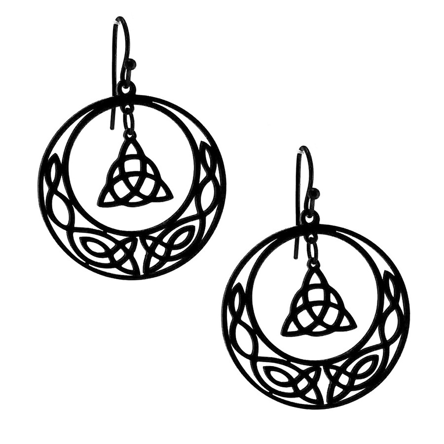 Black Celtic Knot Circle Drop Earrings with Dangling Triquetra