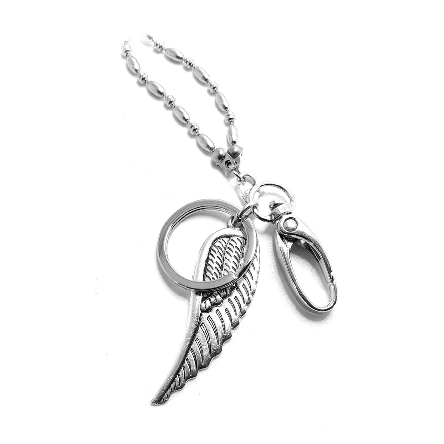 Antiqued Silver Angel/Bird Wing: Lanyard Ball-Chain Convertible Necklace (Plus Two Clear Pouch/ID/Badge/Card Holders)