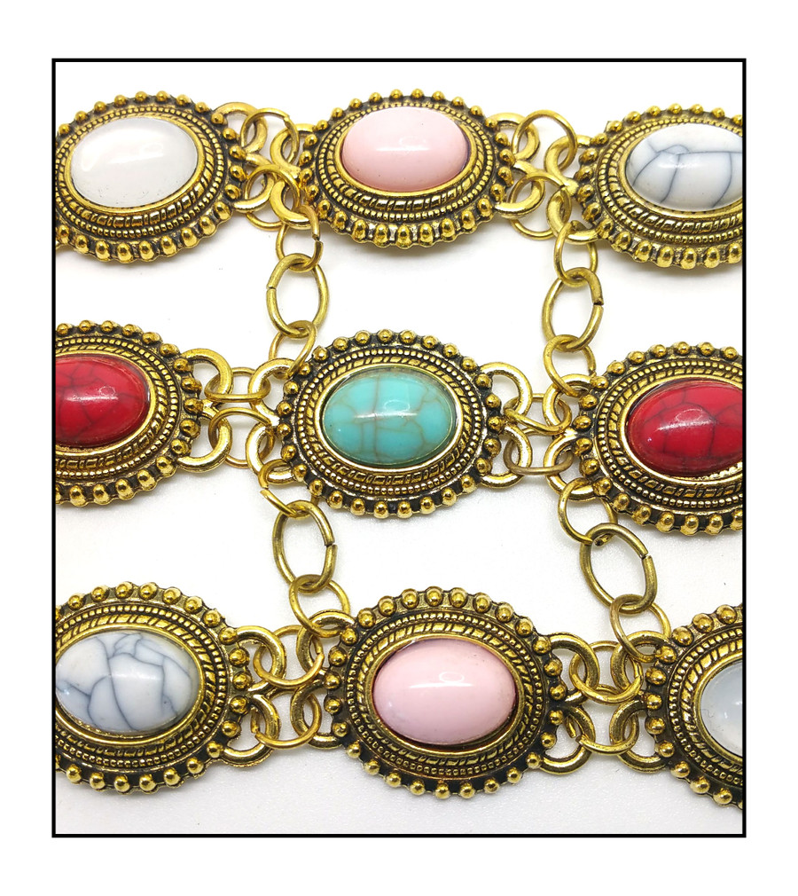 Long Antiqued Golden Linked Panel Y-Necklace with Multicolored Cabochons