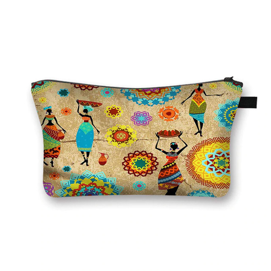 """""""African Ladies"""" Canvas Fabric Cosmetic Bag"""