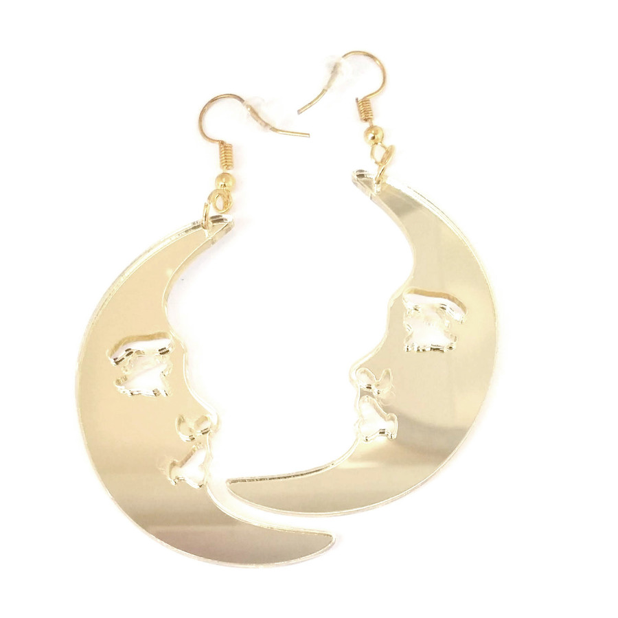 Large Lightweight Golden Acrylic Mirror Crescent Moon Drop Earrings