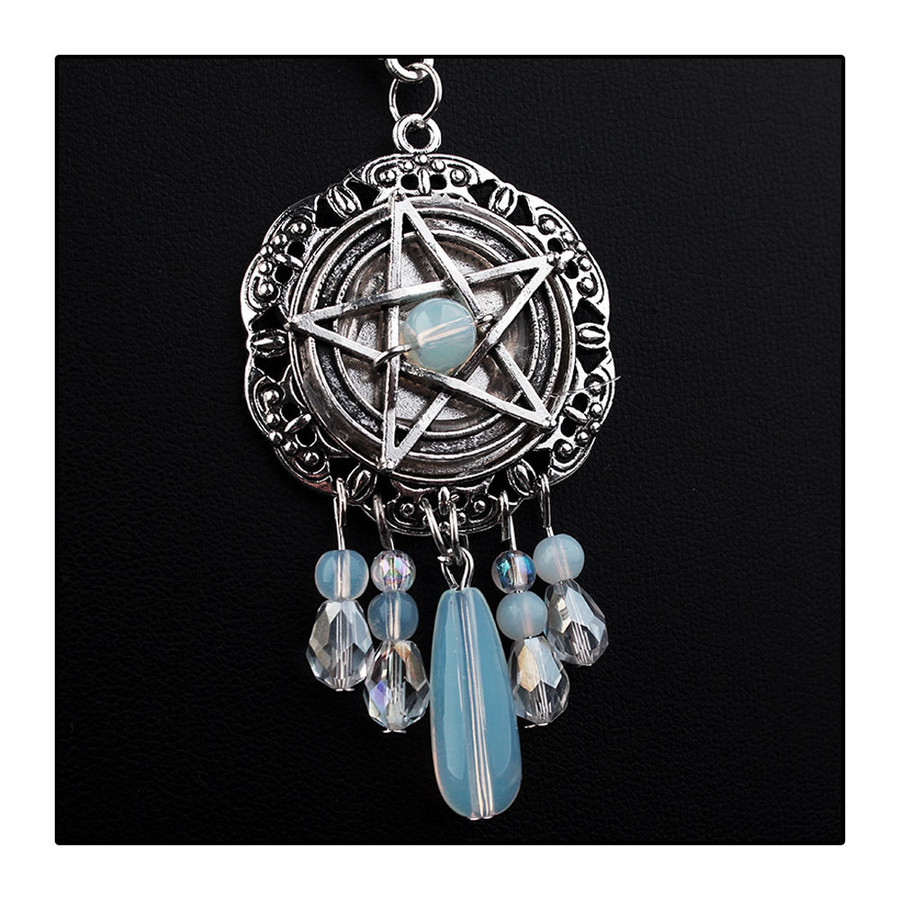 Antiqued Silver Beaded Pentacle Pendant Necklace