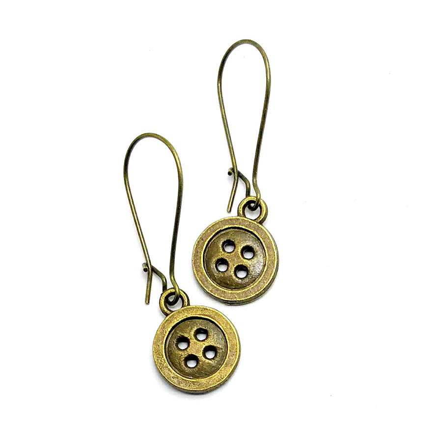 Antiqued Gold Button Drop Earrings