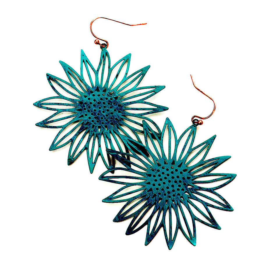 Feather-Light Patina Sunflower/Daisy Drop Earrings