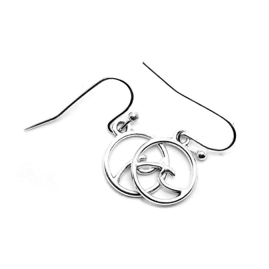Mini Silver Circle and Wave Drop Earrings
