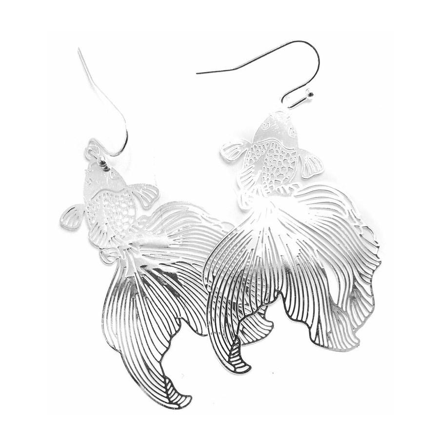 Feather-Light Silver Koi/Goldfish Drop Earrings