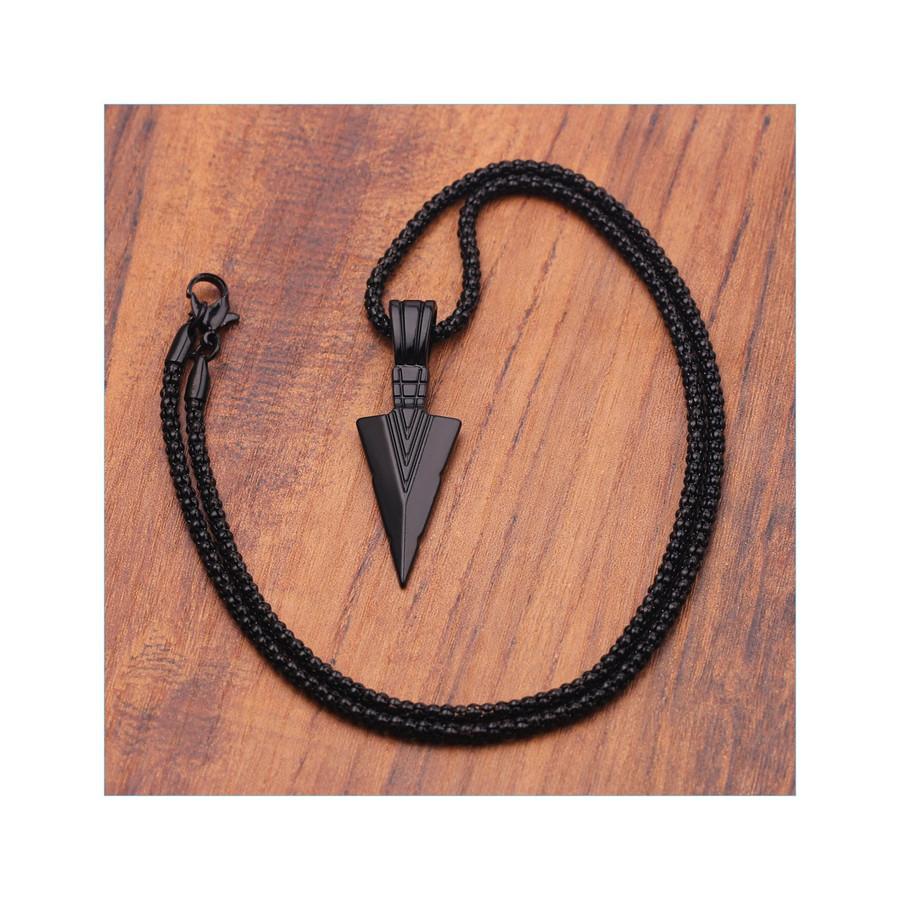 Jet Black Arrowhead Pendant Necklace