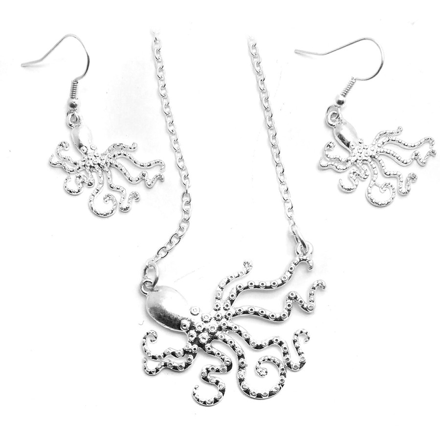 Silver Acrylic Octopus Necklace and Earring Set