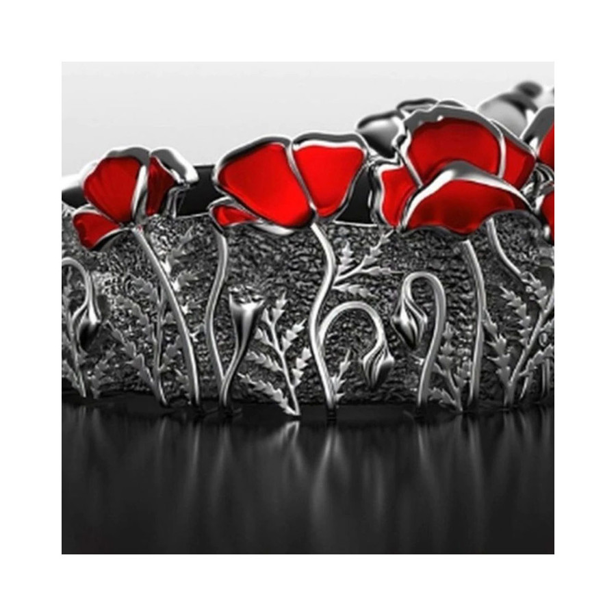 Antiqued Silver Ring with Enameled Red Poppies [size 6 only]