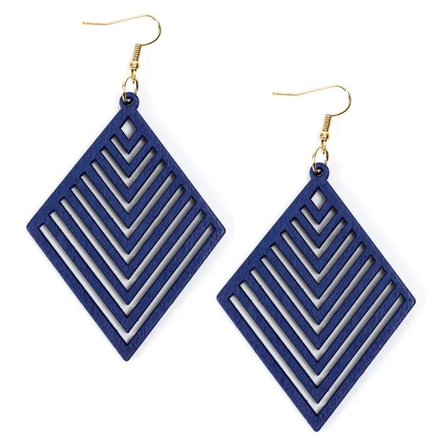 Lightweight Blue Wood Geometric Rhombus Drop Earrings