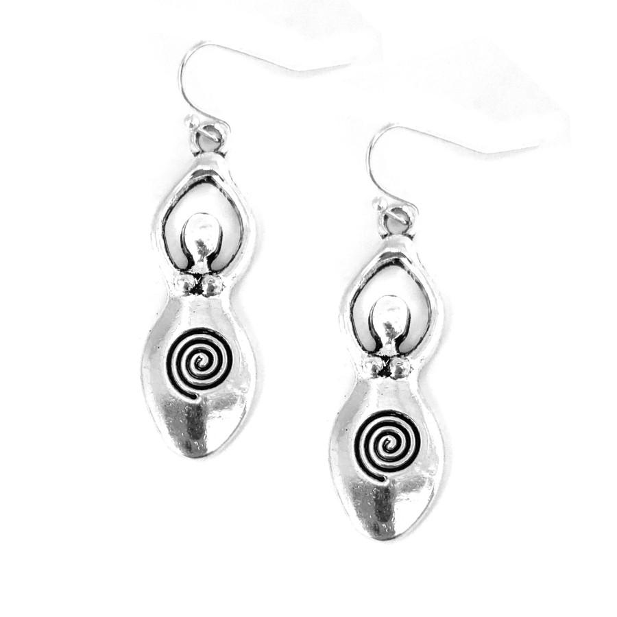Silver Fertility Goddess Drop Earrings