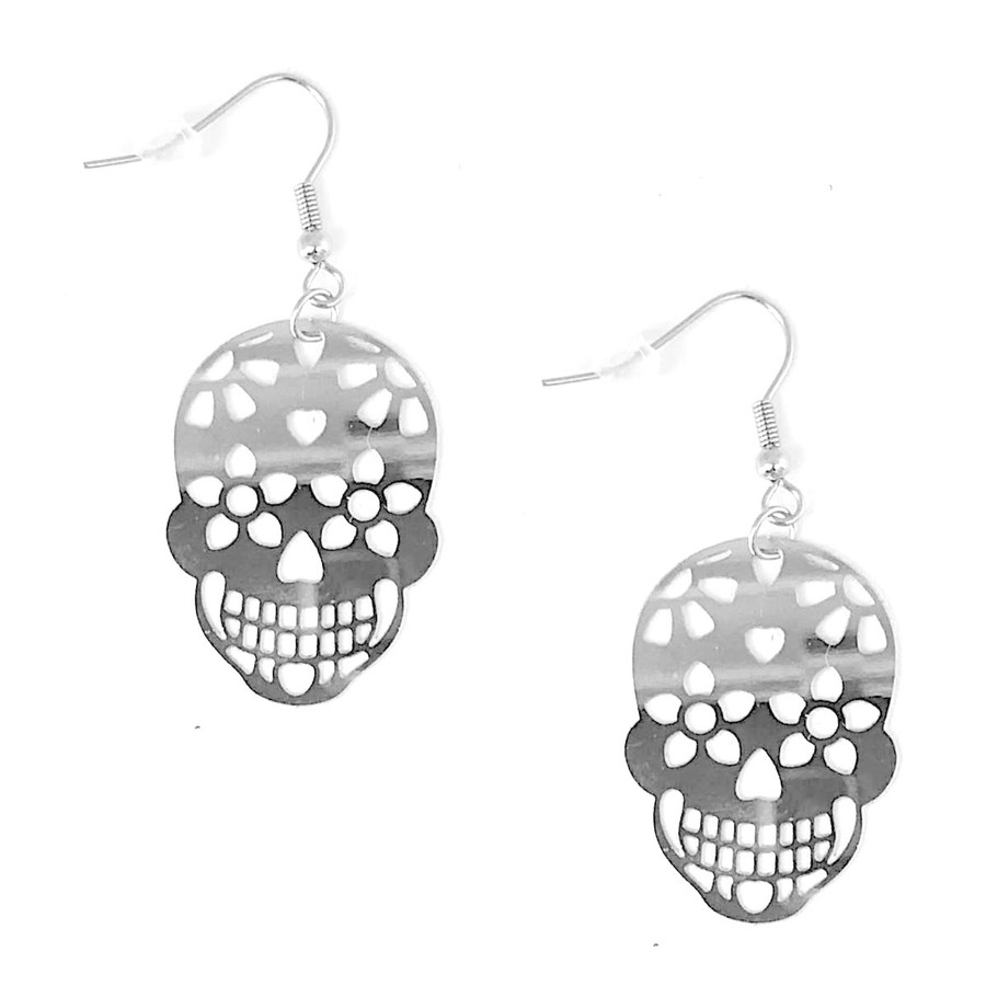 Feather-Light Stainless Steel Sugar Skull Cutout Drop Earrings