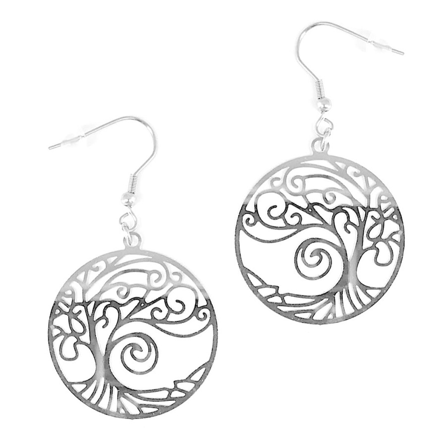 Feather-Light Stainless Steel Tree of Life Circle Drop Earrings