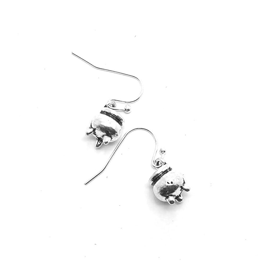 Antiqued Silver Cauldron Pot Drop Earrings