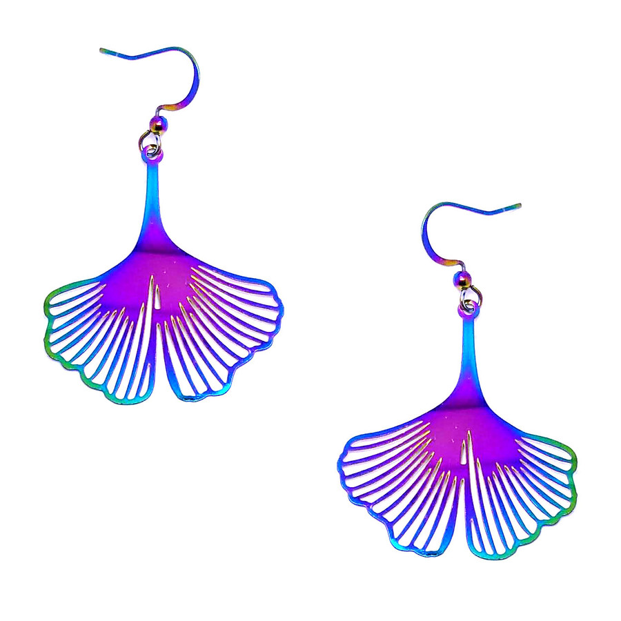 Feather-Light Rainbow-Effect Ginkgo Leaf Drop Earrings