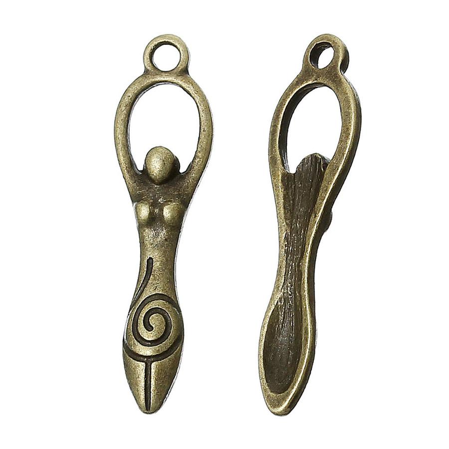 Antiqued Golden Fertility Goddess Hoop Earrings