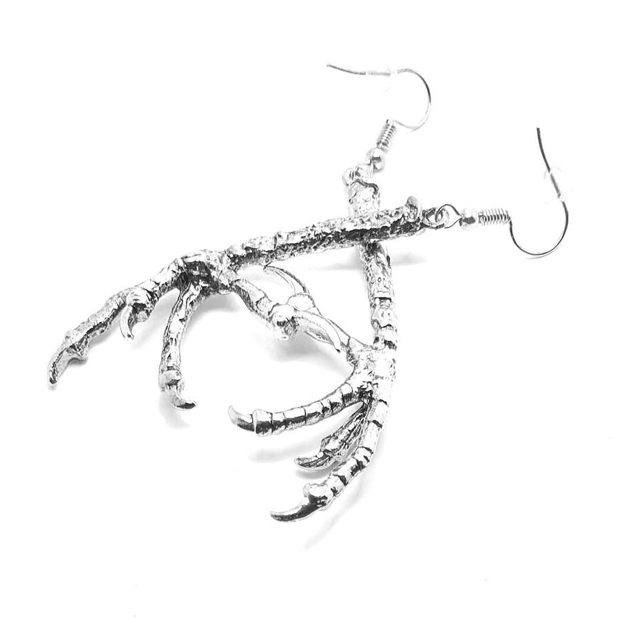 Antiqued Silver Bird Talon Drop Earrings