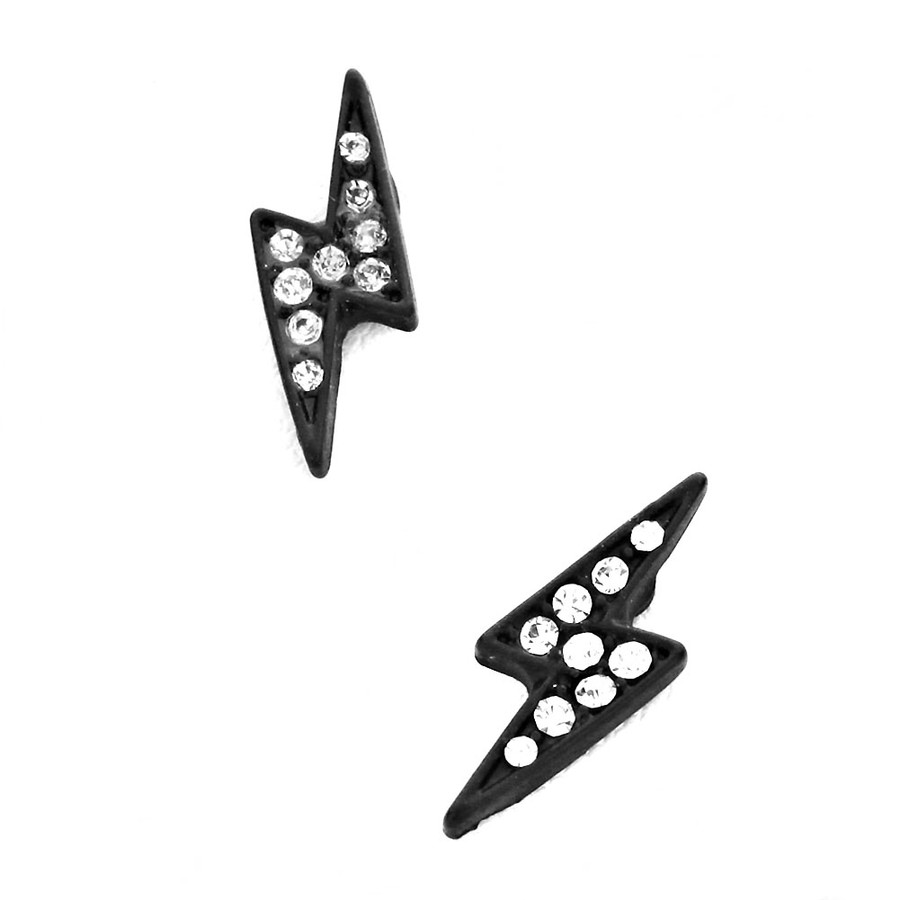 Black Lightning Bolt Post Earrings with Clear Crystals