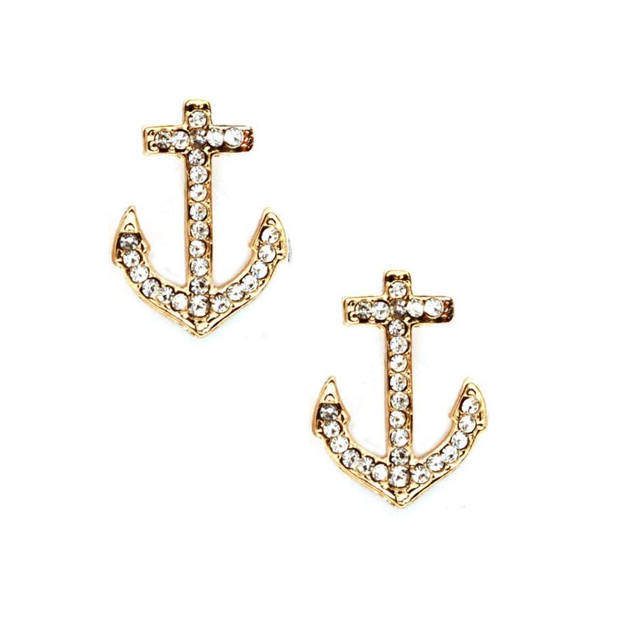 Golden Crystal Anchor Post Earrings