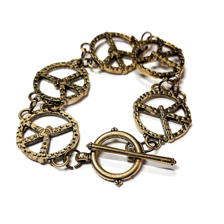 Antiqued Gold Peace Sign Toggle Bracelet